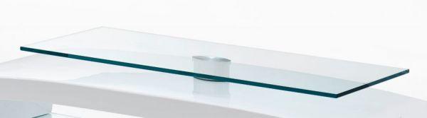 TV-Lowboard Laurel in Hochglanz weiß mit Glasböden TV-Unterteil 150 x 47 cm