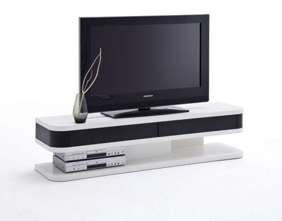 TV-Lowboard Junior in matt weiß und schwarz echt Lack Fernsehtisch 151 x 35 cm