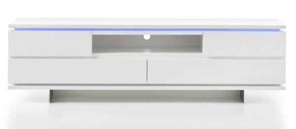 TV-Lowboard Balin in matt weiß echt Lack TV-Unterteil inkl. LED Beleuchtung 200 x 57 cm