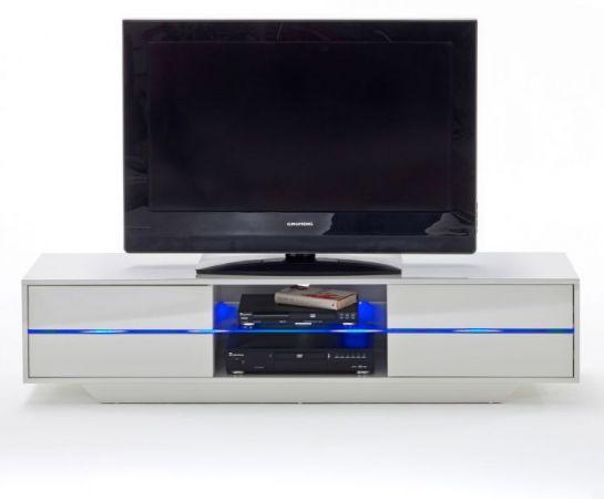 TV-Lowboard Blues in Hochglanz weiß echt Lack TV-Unterteil inkl. LED Beleuchtung 160 x 36 cm