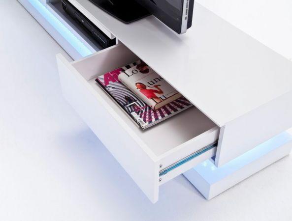 TV-Lowboard Step in Hochglanz weiß echt Lack TV-Unterteil inkl. LED Farbwechselbeleuchtung 180 x 36 cm