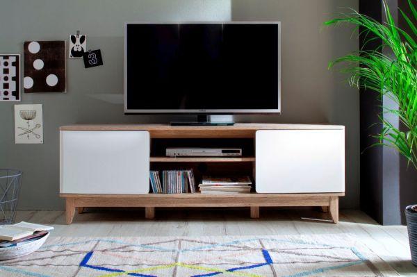 TV-Lowboard Monale in matt weiß mit Eiche San Remo Fernsehtisch 160 x 55 cm