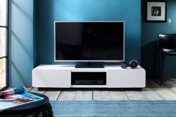TV-Lowboard Jeff in weiß matt mit Anthrazit Fernsehtisch auf Rollen 140 x 28 cm