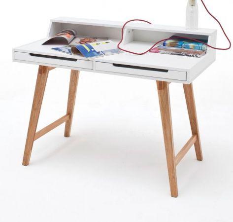 Schreibtisch Tiffy in matt weiß lackiert und Massivholz für Homeoffice und Büro 110 x 58 cm