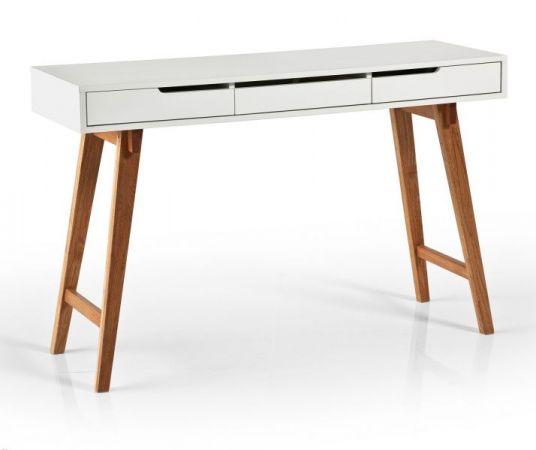 Schreibtisch Anneke in matt weiß lackiert und Massivholz für Homeoffice und Büro 120 x 40 cm