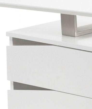 Schreibtisch Tori in weiß matt lackiert und Edelstahl für Homeoffice und Büro 150 x 67 cm