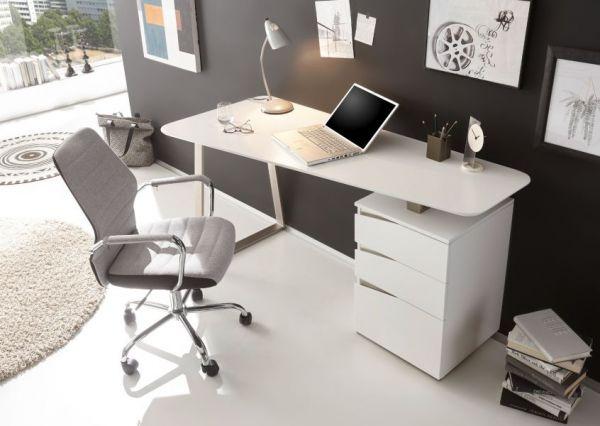 Schreibtisch Tori in matt weiß lackiert für Homeoffice und Büro 150 x 67 cm