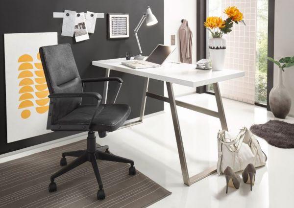 Schreibtisch Andria in matt weiß lackiert Laptoptisch für Homeoffice und Büro 140 x 60 cm