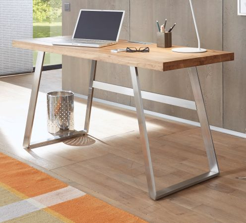 Schreibtisch Andria in Asteiche massiv geölt Laptoptisch für Homeoffice und Büro 140 x 60 cm