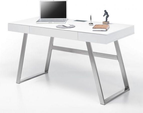 Schreibtisch Aspen in matt weiß lackiert Laptoptisch für Homeoffice und Büro 140 x 60 cm