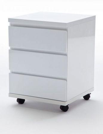 Rollcontainer in Hochglanz weiß lackiert Bürocontainer rollbar 42 x 57 cm