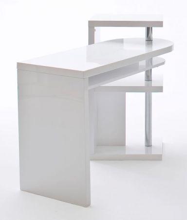Schreibtisch Mattis in Hochglanz weiß lackiert schwenkbarer Eckschreibtisch für Homeoffice und Büro 145 x 50 cm