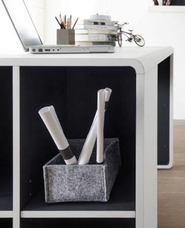 Schreibtisch Tadeo in matt weiß und Anthrazit Laptoptisch für Homeoffice und Büro 119 x 59 cm