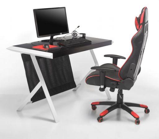 Schreibtisch McRacing in matt schwarz und weiß lackiert Laptoptisch für Homeoffice und Büro 127 x 60 cm