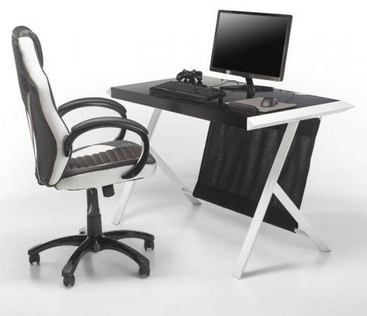 Schreibtisch McRacing in matt weiß und rot lackiert Laptoptisch für Homeoffice und Büro 127 x 60 cm