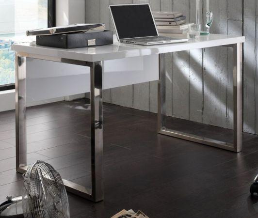 Schreibtisch Sydney in Hochglanz weiß lackiert Laptoptisch für Homeoffice und Büro 140 x 70 cm