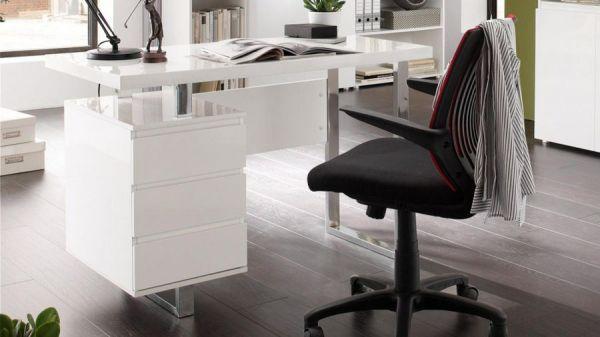Schreibtisch Sydney in Hochglanz weiß lackiert Laptoptisch mit Schubkästen für Homeoffice und Büro 115 x 60 cm