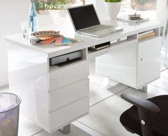 Schreibtisch Sydney in Hochglanz weiß lackiert Laptoptisch mit Schubkästen für Homeoffice und Büro 140 x 60 cm