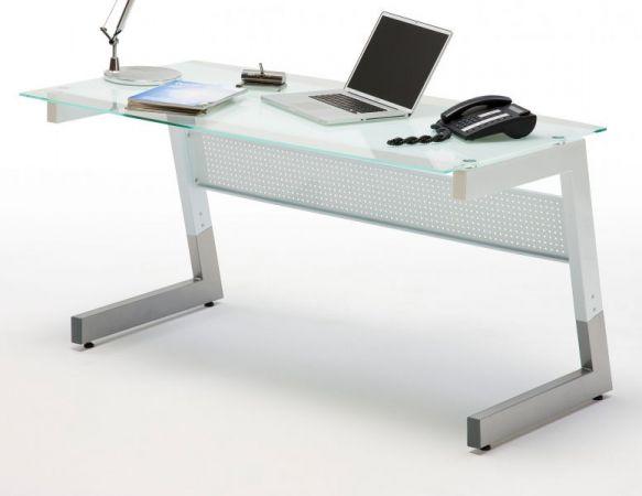 Schreibtisch Big in weiß mit Glasplatte und Metall Laptoptisch für Homeoffice und Büro 150 x 80 cm
