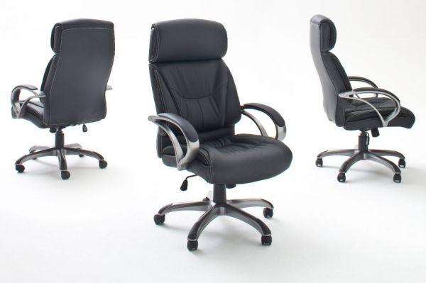 Bürostuhl Ben in Kunstleder schwarz mit Wippmechanik Chefsessel bis 150 kg