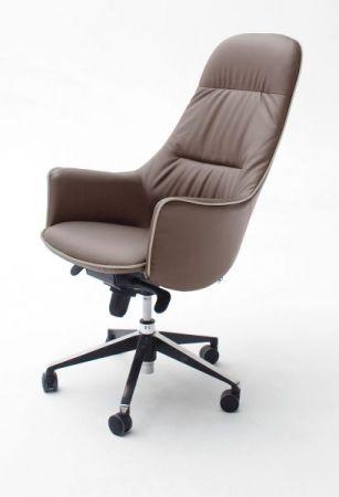 Bürostuhl Karen in Kunstleder cappuccino mit Wippmechanik Chefsessel bis 120 kg