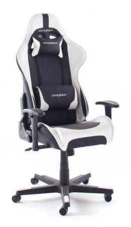 Bürostuhl DX-Racer in Kunstleder schwarz und weiß mit Wippmechanik Chefsessel inkl. 2 verstellbarer Stützkissen Gaming Stuhl
