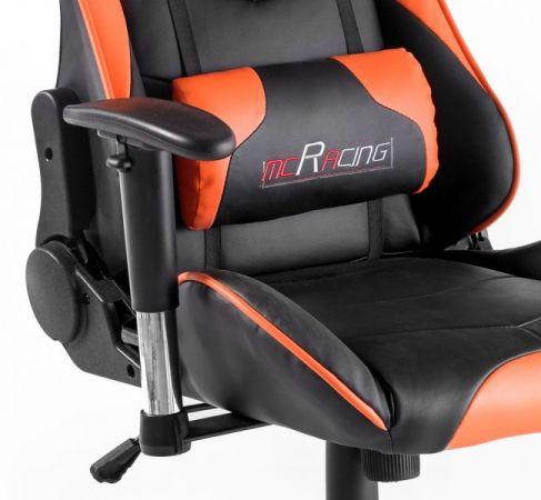Bürostuhl Mc Racing in Kunstleder schwarz und orange mit Wippmechanik Chefsessel inkl. 2 verstellbarer Stützkissen Gaming Stuhl