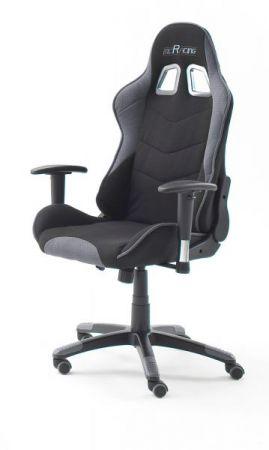 Bürostuhl Mc Racing in schwarz und grau mit Wippmechanik Chefsessel inkl. 2 verstellbarer Stützkissen Gaming Stuhl