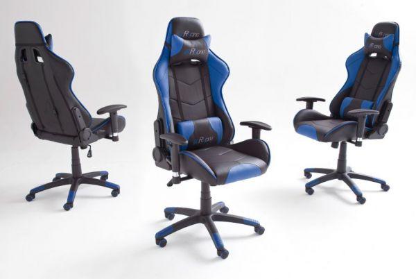 Bürostuhl Mc Racing in Kunstleder schwarz und blau mit Wippmechanik Chefsessel inkl. 2 verstellbarer Stützkissen Gaming Stuhl
