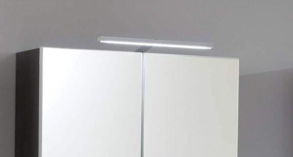 Badmöbel Set Line 5-teilig in Hochglanz weiß und Sardegna grau Rauchsilber 150 x 182 cm