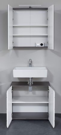 Badmöbel Set Line 2-teilig in Hochglanz weiß und Sardegna grau Rauchsilber 60 x 182 cm
