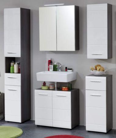 Badezimmer Hochschrank Line in Hochglanz weiß und Sardegna grau Rauchsilber 30 x 182 cm