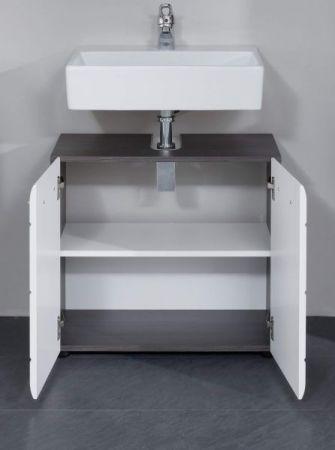 Waschbeckenunterschrank Line in Hochglanz weiß und Sardegna grau Rauchsilber Waschtisch 60 x 57 cm