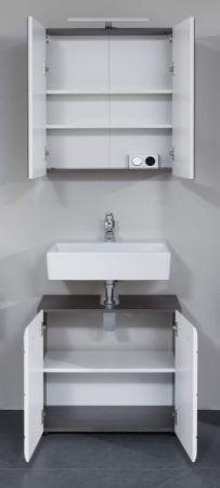 Badmöbel Spiegelschrank Line in Sardegna grau Rauchsilber 60 x 67 cm optional mit LED Aufsatzleuchte