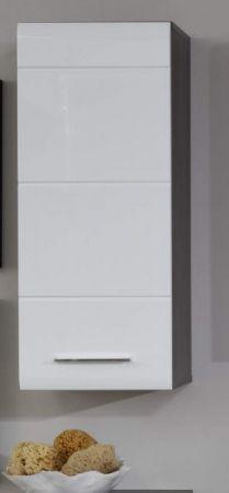Badezimmer Hängeschrank Line in Hochglanz weiß und Sardegna grau Rauchsilber 30 x 77 cm