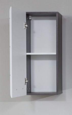 Badezimmer Hängeschrank Line in Hochglanz weiß und Sardegna grau Rauchsilber Badschrank 30 x 77 cm