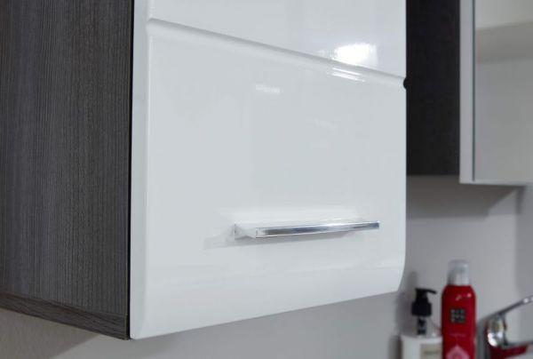 Badezimmer Unterschrank Line in Hochglanz weiß und Sardegna grau Rauchsilber 30 x 80 cm