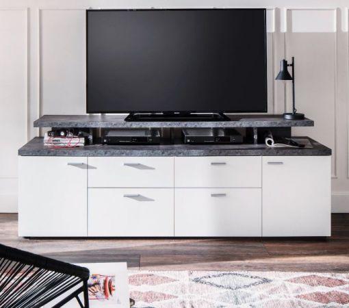 TV-Lowboard Mood in weiß und Stone Design grau Fernsehtisch 180 x 66 cm TV in Komforthöhe