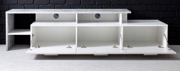 TV-Lowboard Stream in weiß und Stone Design grau TV-Unterteil 195 x 48 cm