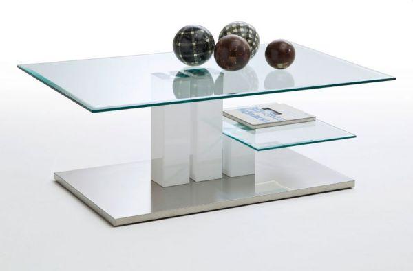 Couchtisch Nils in Hochglanz weiß mit Glastischplatten und Edelstahl Wohnzimmertisch 110 x 70 cm