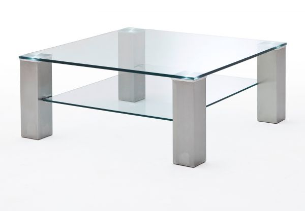 Couchtisch Asta mit Glastischplatte und Edelstahl Wohnzimmertisch mit Ablage quadratisch 90 x 90 cm