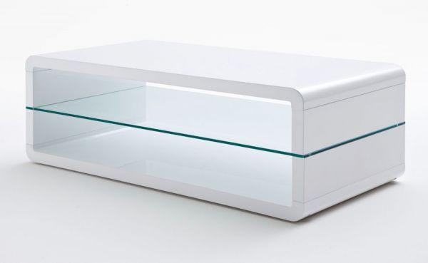 Couchtisch Agatha in Hochglanz weiß Lack Wohnzimmertisch mit Glasablageboden 120 x 60 cm