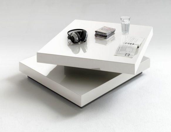 Couchtisch Hugo in Hochglanz weiß lackiert Wohnzimmertisch drehbar quadratisch 75 x 75 cm
