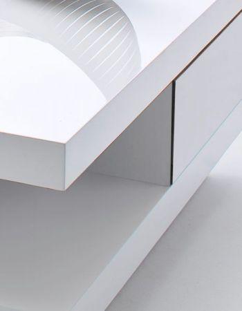 """Couchtisch """"Abby"""" in weiß Hochglanz lackiert - Wohnzimmertisch quadratisch mit Schubladen 85 x 85 cm"""