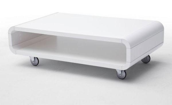 Couchtisch Britta in matt weiß lackiert Wohnzimmertisch 100 x 59 cm auf Rollen