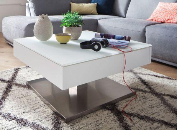 Couchtisch Mariko in matt weiß lackiert Fernsehtisch mit drehbarer Glastischplatte und Edelstahl 75 x 75 cm quadratisch