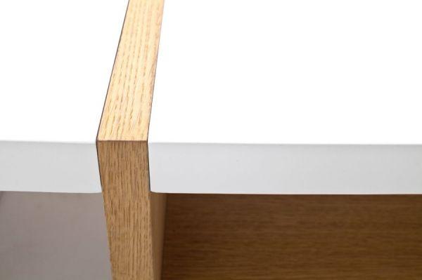 Couchtisch Robela in matt weiß lackiert und Asteiche massiv Wohnzimmertisch mit Ablage 100 x 70 cm