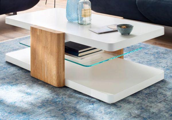 Couchtisch Sanne in matt weiß lackiert und Eiche massiv Wohnzimmertisch mit Glasablage 120 x 70 cm