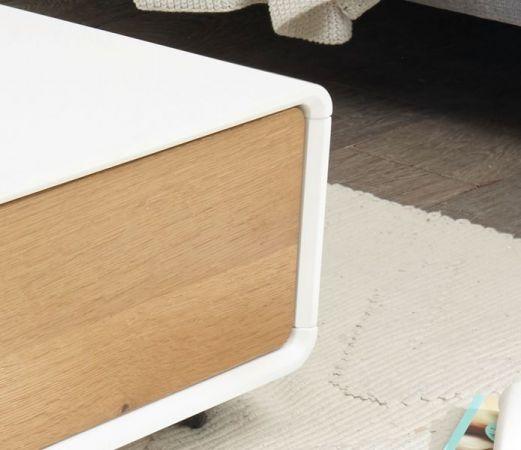 Couchtisch Corin in matt weiß echt Lack mit Asteiche Wohnzimmertisch auf Rollen 110 x 70 cm Toulon