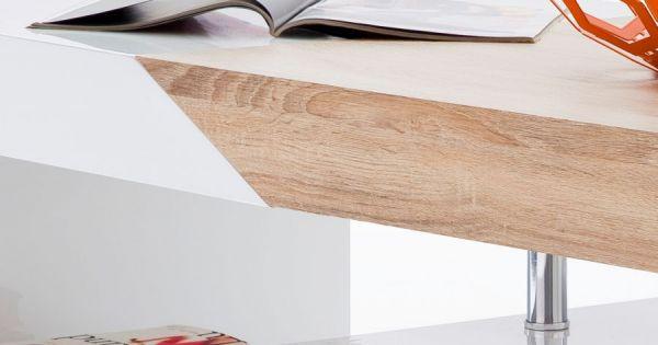 Couchtisch Hope in Hochglanz weiß Lack mit Sonoma Eiche Wohnzimmertisch mit Auszug und Schubkasten 120 x 60 cm